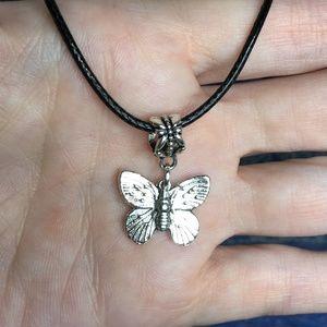 "Tibetan Silver Butterfly Pendant Necklace 20"""